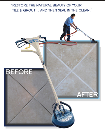 before and after image of cleaned tile